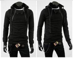 Korean Men's High Quality Double Zippered Coat Black