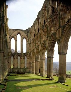 The church of the Cistercian monastery of Rievaulx Abbey Yorkshire, UK, founded in 1132 and abandoned during the Dissolution of the Monasteries © English Heritage Photo Library. Oh The Places You'll Go, Places To Travel, Places To Visit, Dissolution Of The Monasteries, England Houses, Yorkshire England, North Yorkshire, Cornwall England, Yorkshire Dales