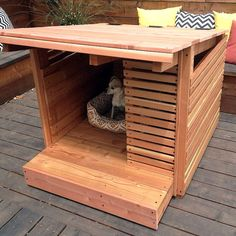 There's nothing like the feeling of knowing you made something with your own two hands. And what better gift to give a person or pooch than something you painstakingly crafted, just for them? We've compiled a list of DIY dog houses, … Small Dog House, Build A Dog House, Dog House Plans, Small Dogs, Dog House With Porch, Cool Dog Houses, Niches, Pet Furniture, Dog Runs