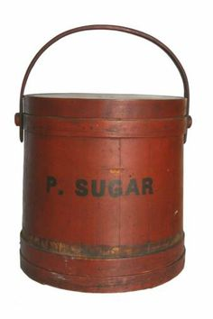 """19th C. New England firkin still retains it's original vibrant red painted surface and stencilling for """"Powdered Sugar"""".  Made by G. Wilder & Son, So. Hingham, Mass."""