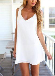 Season :Summer Type :Sun Pattern Type :Plain Sleeve Length :Sleeveless Color :White Dresses Length :Short Style :Beach Material :Chiffon Neckline :V neck Silhouette :A Line Decoration :Criss Cross Bus