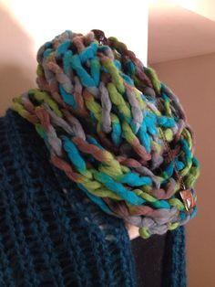 Chunky knit infinity scarf cowl blue green by ChristineBurkeArt