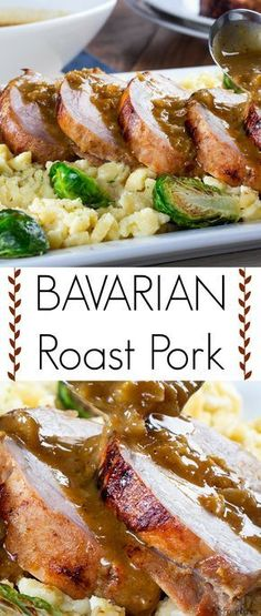 If you love traditional German recipes, you need to try our Bavarian Roast Pork! This roast recipe is perfect for when you're craving a hot, hearty, and completely satisfying dinner experience. A touch of sweet honey, combined with delicious beer 'n' brat Pork Tenderloin Recipes, Roast Recipes, Pork Roast, Dinner Recipes, German Recipes Dinner, Pork Loin, Dessert Recipes, Pork Tenderloins, Game Recipes