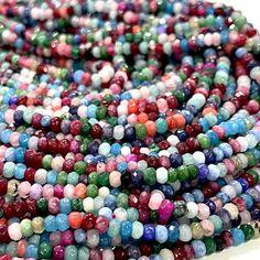 Multicolor Jade 4mm Faceted Rondelle, Multicolor Jade Beads,Gemstone Beads,Natural Gemstone Jade, Products, Gadget