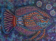 Fairy Wrasse, by Australian artist Aline Cross. Acrylic on canvas; 9 x Teal Coral, Purple, Tribal Animals, Mandala Art Lesson, Tropical Design, Aboriginal Art, Fish Art, Australian Artists, Dot Painting