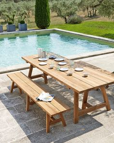 Recycled Teakholz garden bench W Outdoor Tables, Outdoor Spaces, Outdoor Living, Outdoor Decor, Garden Table, Terrace Garden, Sofa Bar, Table Teck, Garden Furniture