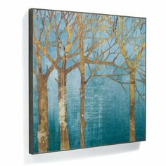 Pull a room together with golden-branched trees, giclee printed on cotton canvas, gallery-wrapped over solid wood, and finished with a floating driftwood-hued frame.      Giclée printing ensures the highest resolution quality and spectacular color fidelity     Cotton canvas hand stretched over solid wood bars     Finished with a floating driftwood-hued frame
