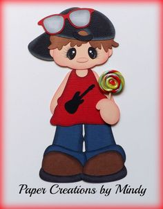 ELITE4U lollipop boy Kids summer premade paper piecing scrapbooking page h ~Paper Creations by Mindy