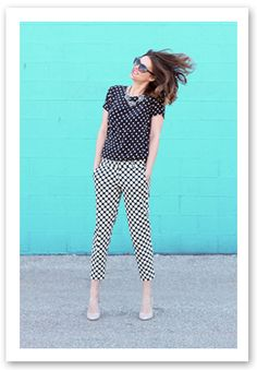Brilliant pattern mixing from Jessica at What I Wore!