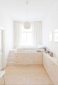 Tolle Idee und so schön natürlich dieses Schlafzimmer, Eine gute Lösung wenn man wenig Platz hat. Möbel aus Sperrholz machen das merke ich mir