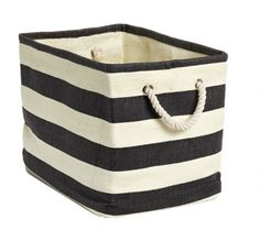 Rugby Stripe Bins = good for ikea shelving unit in playroom. Small size should … – Kallax Ideas 2020 Container Store, Rugby, Contemporary Baskets, Black White Stripes, Black And White, Bold Stripes, Storage Bins, Storage Solutions, Office Storage