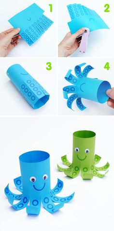 Scissor skills / Straight lines / Mr Octopus - Octopus made from toilet paper roll