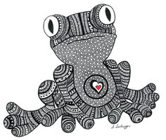 Black and White Zentangle Frog drawing Print by LimeGreenArtShop, $15.00
