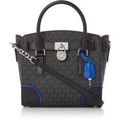 Michael Kors Hamilton Small Signature Satchel Tote Bag ($365) ❤ liked on Polyvore featuring bags, handbags, tote bags, bags & luggage handbags, michael kors satchel, man bag, handbag purse, leather hand bags and leather tote bag