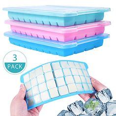 Silicone Flexible Ice Cubes Trays Molds Square Maker With Lid Cover Soft 36-Cube