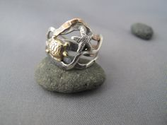 brass Turtle and silver Starfish Kelp ooak mixed by simplyMegA, $68.00