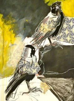 Magpies, mixed media by Maggie Moy