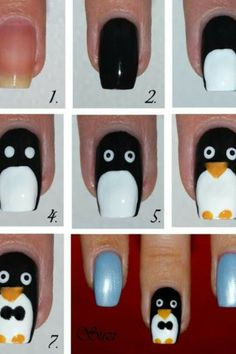 Cute penguin nails!! It is great for the winter dosnt really match the summer doe!!(: