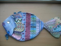 """https://flic.kr/p/5sQMn9   A basket for the oct. swap CQAW.   left side.I saw this fish as a basket in a shop. I made the patterns myself and """"translated""""in CQ."""
