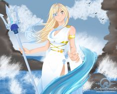 [Fairy Tail Oc] Syrena, the Goddess of the Ocean! by oOAquaDreamOo on DeviantArt All Anime, Me Me Me Anime, Anime Princess, Princess Zelda, Fairy Tail Games, Wave Art, Erza Scarlet, Anime Fairy, Photo Canvas