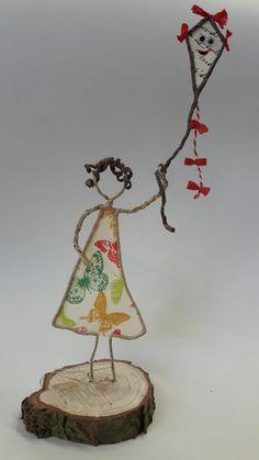 Papierdraht Mädchen mit Drachen von Gisi