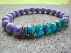 Beaded Bracelet, Gemstone Stretch Bracelet, Stacking Bracelet, Purple Bead Bracelet, Stretch Bracelet, Bead Bracelet Women, Beaded Stretch - pinned by pin4etsy.com