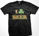 I Shamrock Beer Mens T-shirt, Funny Drinking Irish I Love Beer Tee Shirt