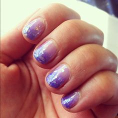 Lilac and Purple gradient with white flake glitter