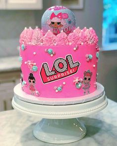 The 20 most beautiful cakes of Lol Surprise - Pink Birthday Cake Ideen Doll Birthday Cake, Funny Birthday Cakes, Pink Birthday Cakes, Happy Birthday, Surprise Birthday, 7th Birthday, Lol Doll Cake, Surprise Cake, Lol Dolls
