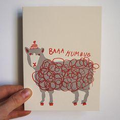 Baaa Humbug Letterpress Card.