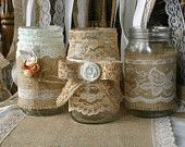ViNTAGE LACE on Burlap wedding JARs,  Bride and Groom centerpiece, rustic farm house, shabby chic, country wedding
