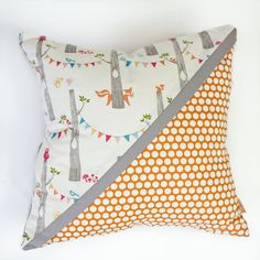 fox party  with orange dots diagonal organic kids by mitanidesigns, $50.00