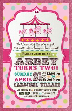 Printable pink and gold carousel invitation with photo - First ...