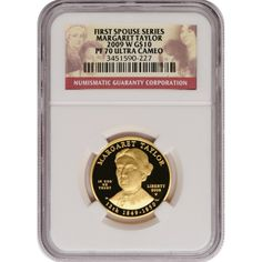 2009-W First Spouse Margaret Taylor Half Ounce Gold Coin PF70 UC NGC