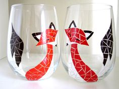 2 Red Fox Mosaic Hand Painted Wine Glasses by MeKu on Etsy