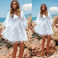 Summer Women Casual Loose Chiffon V-Neck High Waist Drawstring Tassel Mini Dress  $5.75