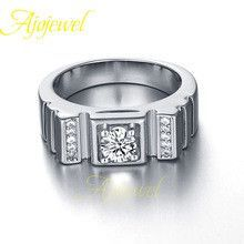 US size 8910 new arrival 2015 classic simple design aaa cubic zirconia men stone ring white gold plated (Ajojewel brand )