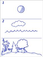 Step by step drawing to creation lesson (divided into two parts)