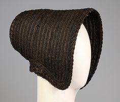 Mourning poke bonnet, Met Museum  Date:     ca. 1845 Culture:     American Medium:     Straw, silk