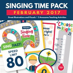 """This February Singing Time Package is designed specifically to help teach the song, """"Choose the Right."""" We have provided wonderful teaching tools and suggestions to help you as you plan and teach. Included in this package are 5 great singing time activities to help you teach and practice the song, """"Choose the Right""""! You will love the illustrations, the learning games, and more! See below for a detailed description of everything you receive!  This is a DIGITAL INSTANT DOW..."""