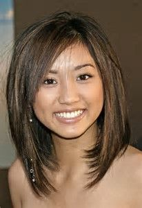 Image result for medium hair cuts with bangs Round Faces