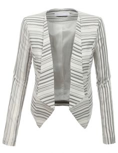 Sharpen your wardrobe with this striped long sleeve open front blazer jacket. A softly draped open-front silhouette softens the look while the asymmetrical hem adds a modern touch to this blazer. This