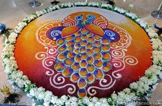 Making Rangoli designs at your house during any event is what everyone tries to achieve. Here are 75 simple rangoli designs for 2020 that are easy to make and will look the best with minimal efforts. North Indian Rangoli Designs, Rangoli Designs Diwali, Rangoli Designs Images, Rangoli Designs With Dots, Beautiful Rangoli Designs, Kolam Rangoli, Beautiful Mehndi, Rangoli Colours, Rangoli Patterns