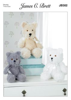 Bears Toys in James C. Brett Wildcat - JB302. Discover more Patterns by James C. Brett at LoveKnitting. The world's largest range of knitting supplies - we stock patterns, yarn, needles and books from all of your favorite brands.