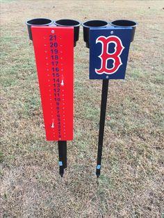 Boston Redsox lawn game scorekeeper with beverage holders