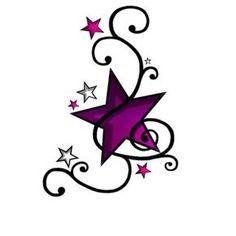 Tatouage étoile violet décorée