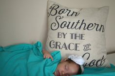 pillow. Throw pillow. Born southern by the grace of by theHcrew