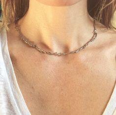 Sterling silver Twig choker by lovelightjewelry on Etsy