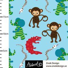 Apor och Elefanter Fabric design for www.znokdesign.se  Jersey