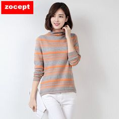 zocept 2016 Fashion Women's Clothing Winter Cashmere Blend Striped Sweater Female Thick Turtleneck Full Sleeve Knitted Pullovers #Affiliate